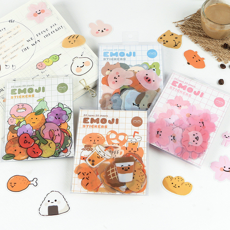 Mohamm 20 Sheets Kawaii Bread Sakura Animal Small Scrapbooking Stickers Aesthetic Paper Sticker Flakes Stationary  Accessories