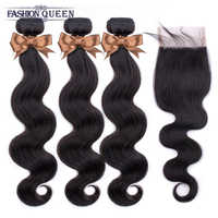 Extensiones de cabello humano malayo con cierre, mechones de pelo ondulado con cierre, pelo de bebé Natural remy Fashion Queen