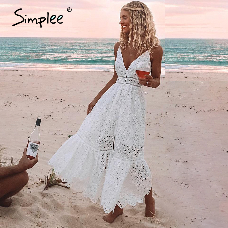 Simple v neck sexy lace summer dress women Strap button casual white dress female Streetwear backless midi dress vestidos 2020