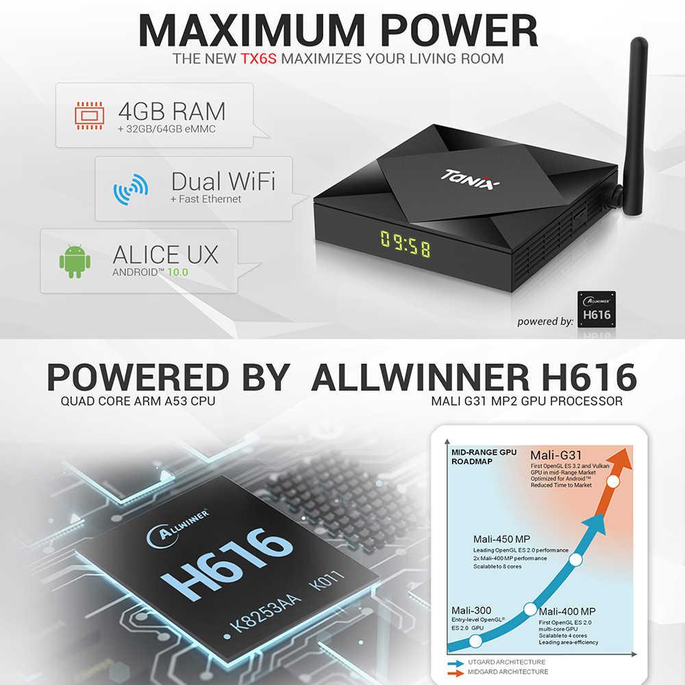 Tanix TX6S أندرويد 10 صندوق التلفزيون الذكية فك التشفير Allwinner H616 رباعية النواة تي في بوكس أندرويد H.265 4K مشغل الوسائط pk T95 أندرويد 10.0