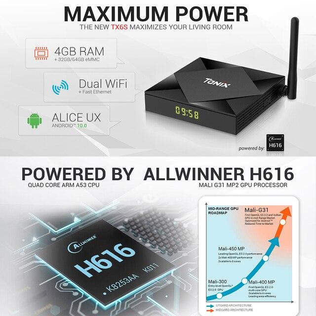 Tanix TX6S Android 10.0 Smart TV BOX 4GB RAM 32GB 64GB Allwinner H616 Quad Core TVBox H.265 4K Media player 2GB 8GB pk Tanix TX6 2