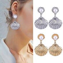 Bohemian Shell Drop Earrings For Women Fashion Big Statement 2019 Pearl Gold Silver Pendant Dangle Earring Boho Jewelry Brincos цена