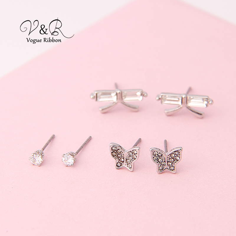 3 pairs a set, cute stud earring imitation rhodium plated, 1pair CZ stone stud, 1 pair pave stone butterfly   stud earring, 1 pa (1)