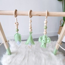 3PCS/set ins Nordic Cartoon Pendants Wooden Bead Feather Hanging Ornaments Baby Shower Birthday Home Decoration Photo Background(China)