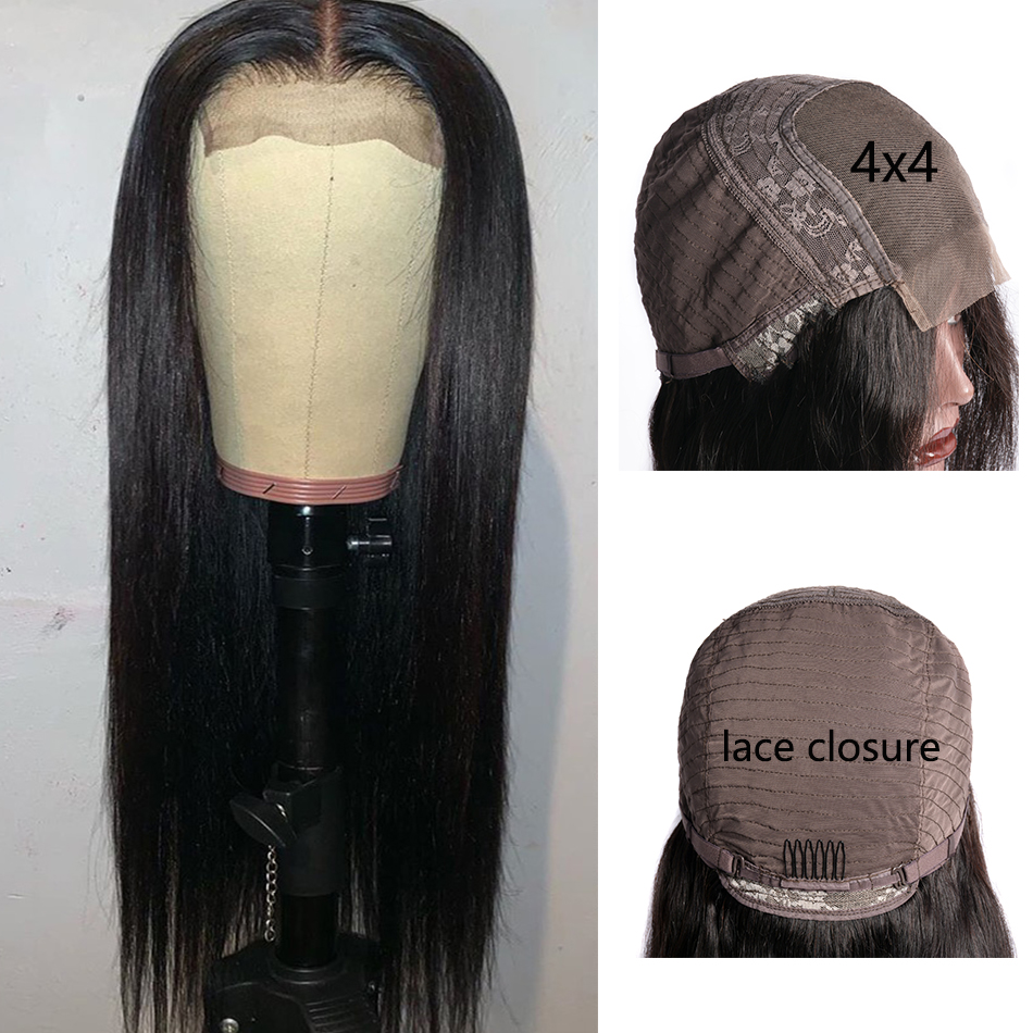 Virgo 4x4 Lace Closure Wig Brazilian Straight Human Hair Wigs Pre Plucked With Baby Hair For Black Women Glueless Remy 10-24inch