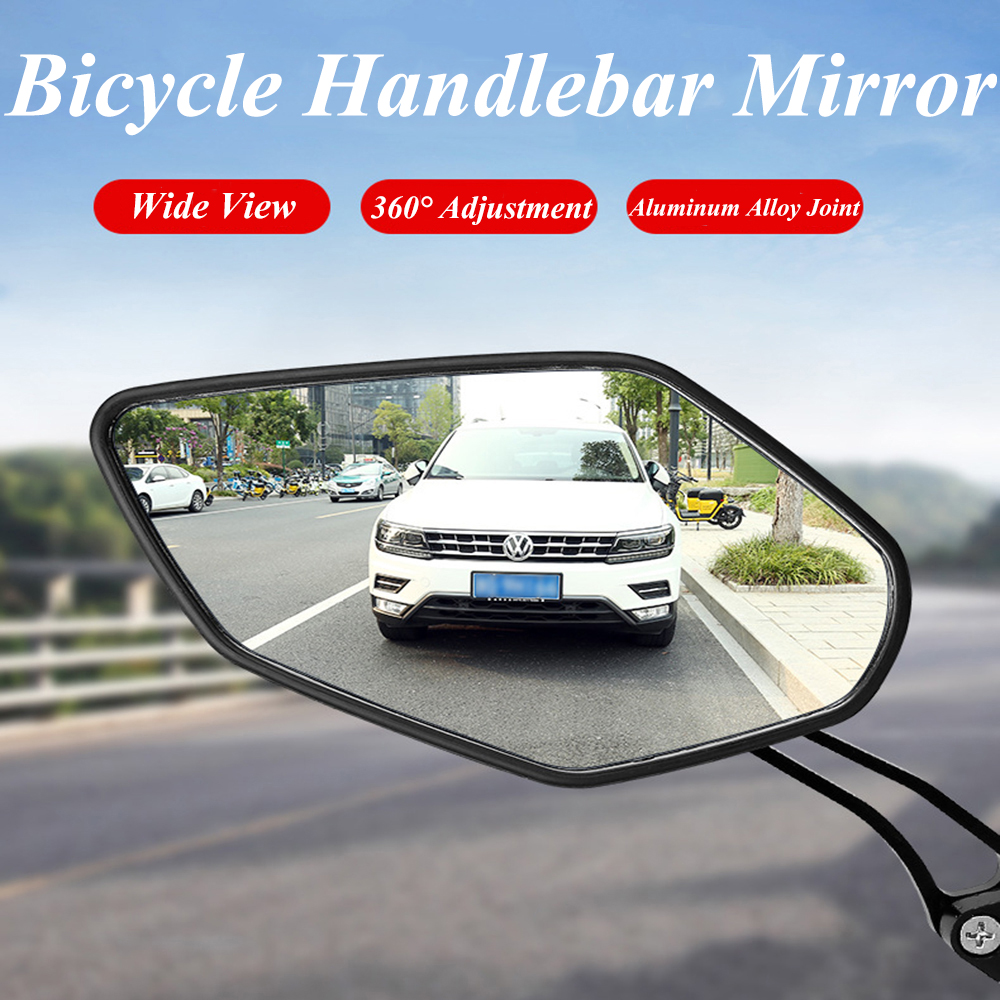 1 Pair Bike Rear View Mirror Bicycle Handlebar Glass Mirror Cycling Wide Range Safety Back Sight Adjustable Left Right Mirrors