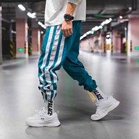 Спортивные зеленые мужские штаны с голубой лентой, брюки с заниженным шаговым швом, хип-хоп шаровары, мужские джоггеры, уличная одежда, модн...