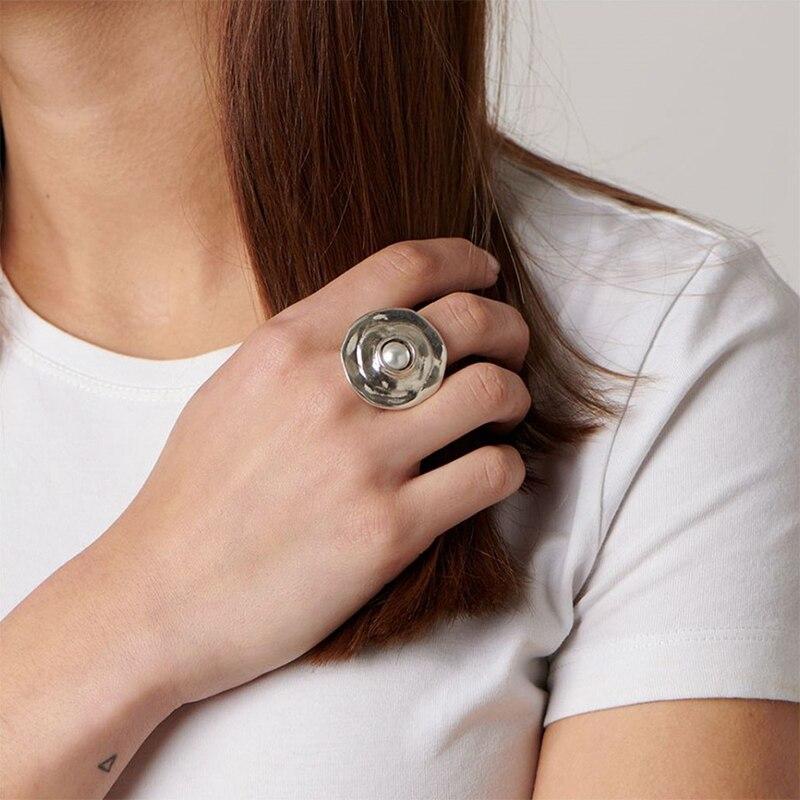 XIYANIKE 925 argent Sterling français INS tendance marque exagérée grande perle ronde irrégulière anneau femme mode créativité cadeaux 3