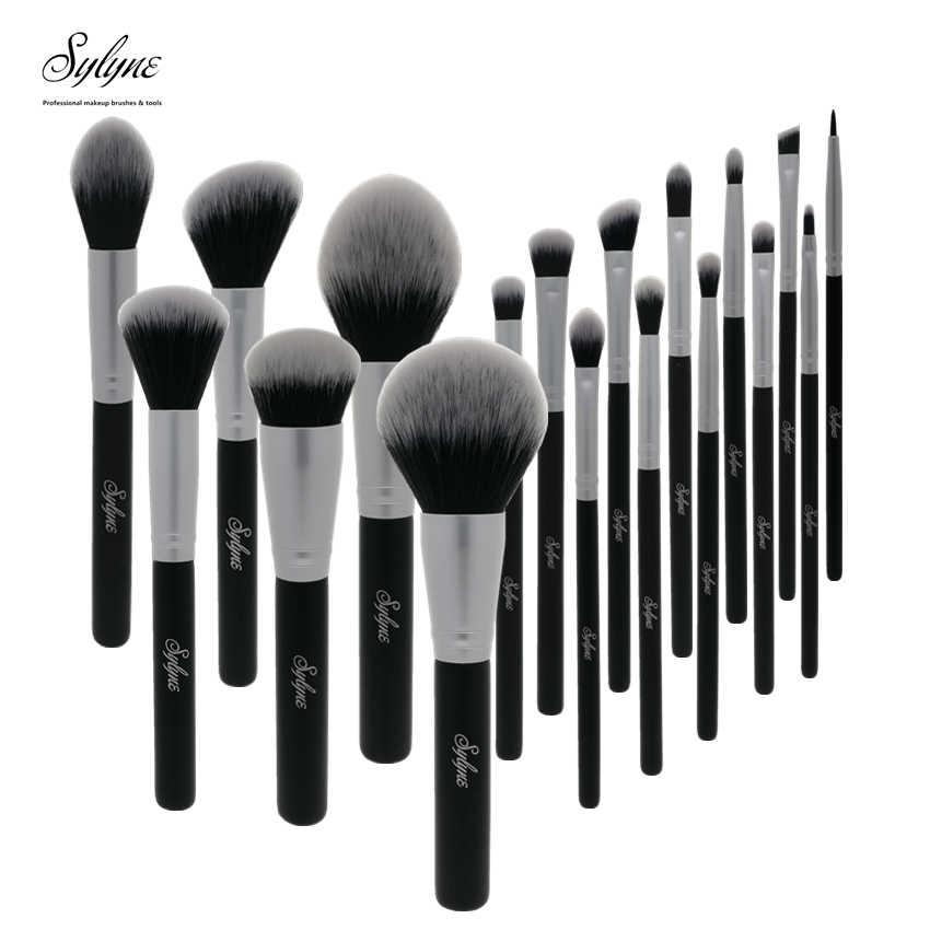 Sylyne 18pcs up kwasten professionele make-up borstel set Synthetisch Haar gezicht & ogen zwarte make up kwasten set kit gereedschap.