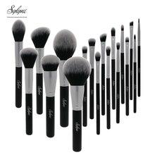 Sylyne czarny pędzle do makijażu 18 sztuk profesjonalny pędzel zestaw włosy syntetyczne, twarz, oczy Cosmeitcs zestaw pędzli do makijażu