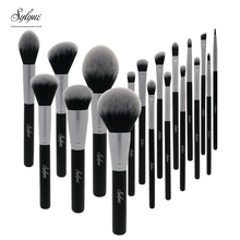 Sylyne pinceaux de maquillage noir 18 pièces ensemble de pinceaux professionnels cheveux synthétiques visage yeux cosmétiques maquillage ensemble de pinceaux