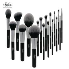 Sylyne siyah makyaj fırçaları 18 adet profesyonel fırça seti sentetik saç yüz gözler kozmetik makyaj fırça seti