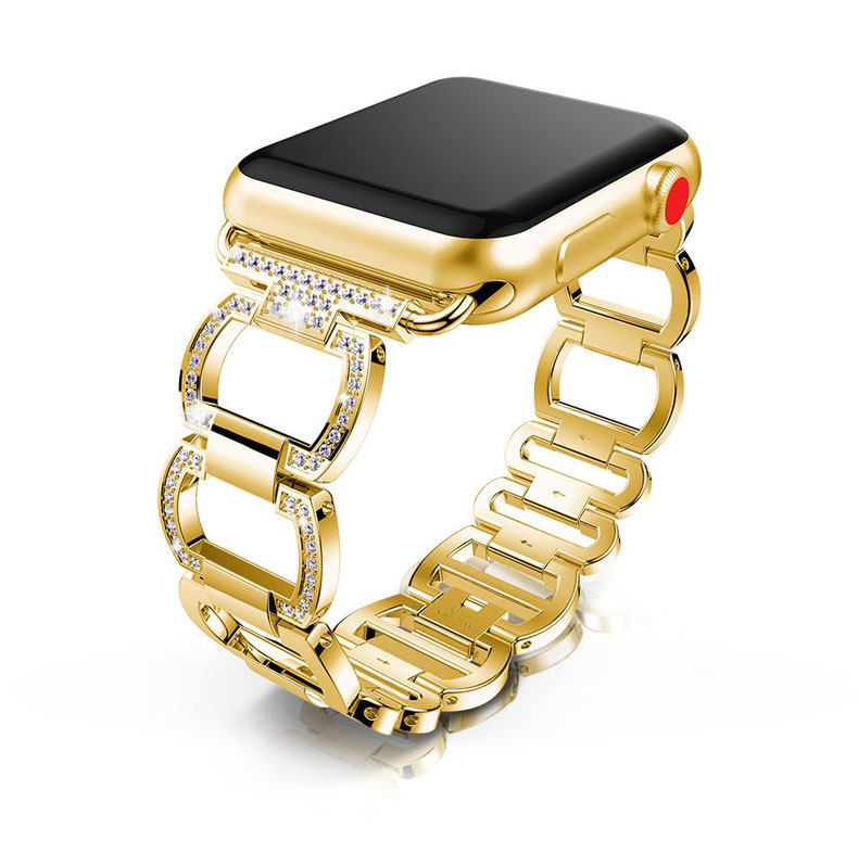 Bracelet à maillons de luxe pour bracelet de montre apple 5/4/3/2/1 iwatch bracelet de montre apple 44mm 40mm 42mm 38mm bracelet en métal diamant