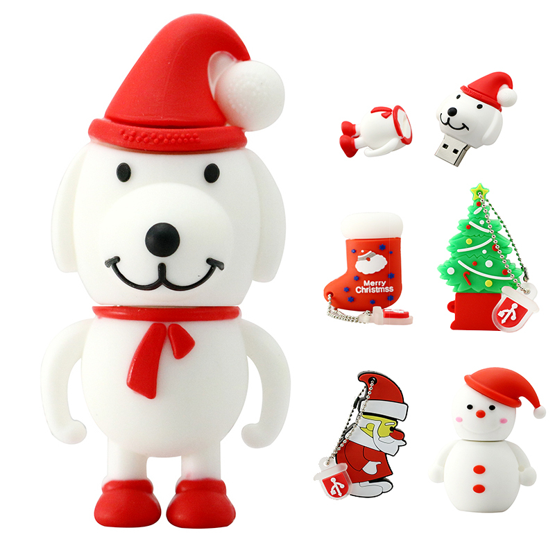 U Disk Santa Claus Christmas Tree Memory Stick Pen Drive 256GB Pendrive Snowman Gift 32GB 4 8 16 64 128 Gb USB Flash Drive Disk