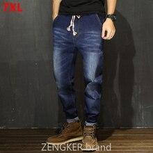 Jeans Men Japanese-Feet Big-Size Pants Stretch Trend Loose New Plus Autumn Harem Men's