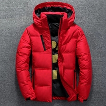Winter Warm Men Jacket Coat Casual Autumn Stand Collar Puffer Thick Hat White Duck Parka Male Men #8217 s Winter Down Jacket With Hood cheap CN(Origin) Regular Men s Down Jacket zipper Full Pockets Thick (Winter) Broadcloth Polyester White duck down 150g-200g