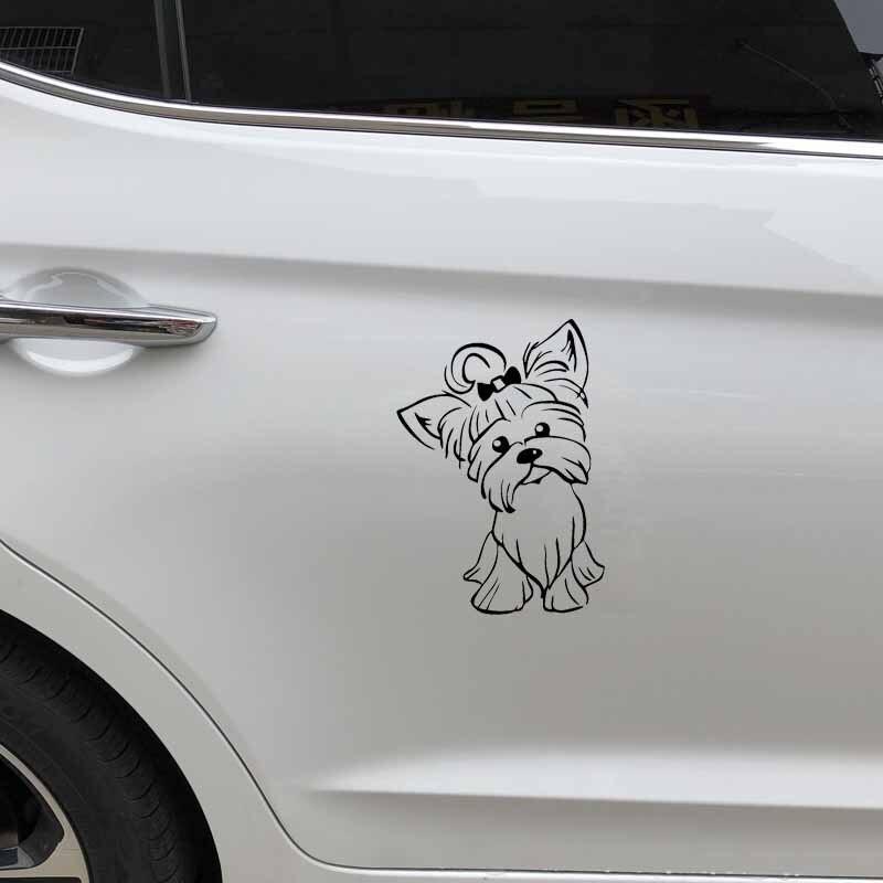 YJZT 12.2X17.3CM Yorkshire Terrier Pup Doggy Yorkie Decal Car Sticker Cute Fun Dog Car Window Vinyl Black/Silver C24-1632