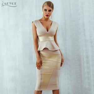 Image 1 - Adyce Ruffles Celebrity Party Dress 2020 New Summer Women Bodycon Set Sleeveless V Neck Front Zipper Bandage Dress Women Vestido