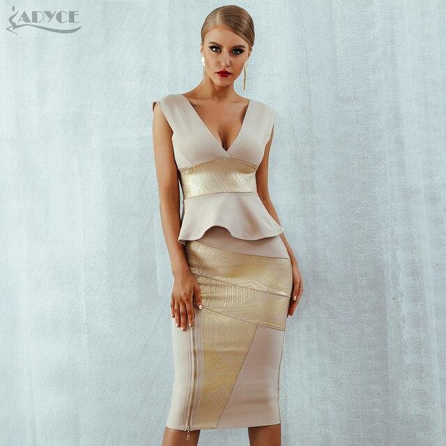 Adyce Ruffles Celebrity Party Dress 2020 New Summer Women Bodycon Set Sleeveless V Neck Front Zipper Bandage Dress Women Vestido