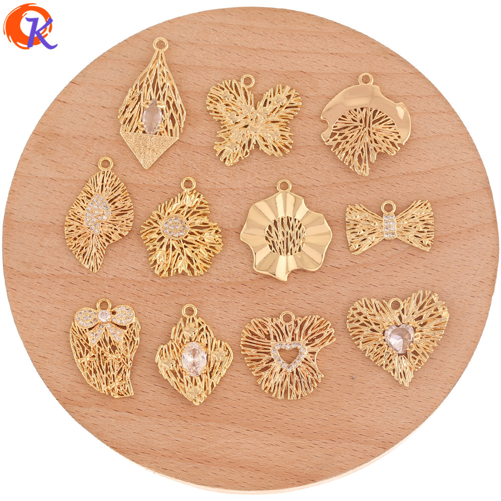 Cordial Design 20Pcs CZ Charms/Jewelry Accessories/Genuine Gold Plating/DIY Parts/Rhinestone Pendant/Hand Made/Earrings Making