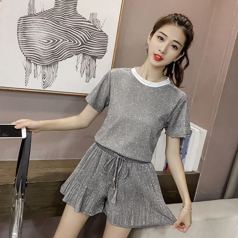 Hot Sale 2019 Summer Women Fashion Bright Two Piece Set Casual High Waist Women's Suit Office Lace Up Tops And Wide Leg Shorts