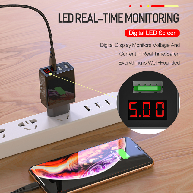 Jellico QC 3 0 3 Port USB Phone Charger LED Display EU Plug Total Max