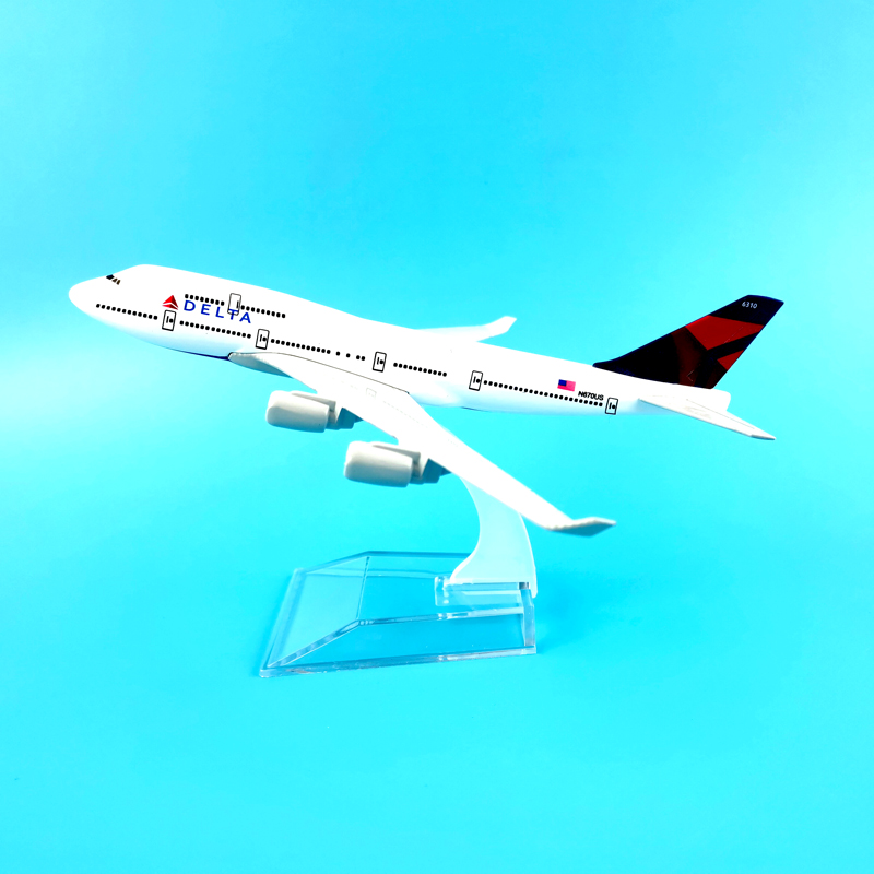 16CM AIR DELTA PLANE747 AIRCRAFT MODEL MODEL PLANE SIMULATION 16 ALLOY CHRISTMAS TOYS GIFT KIDS image