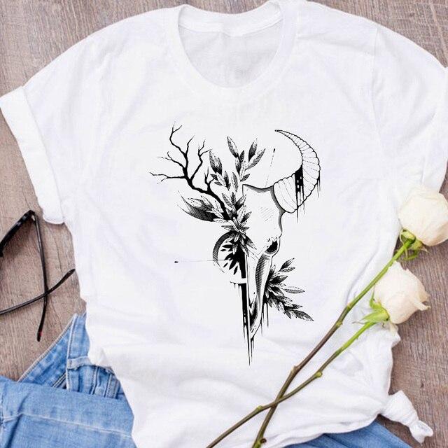 Women Graphic Fox Animal Cartoon Printing 90s Cute Short Sleeve 90s Print Clothes Lady Tees Tops Female T Shirt  Womens T-Shirt 3