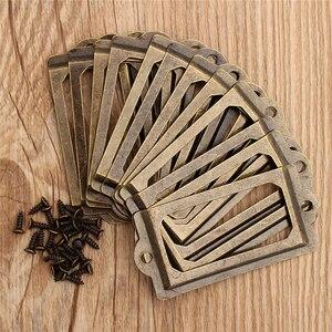 12 шт. металлическая фоторамка этикетка Тяговая рамка Ручка античная латунь файл бизнес держатель для карт украшение дома