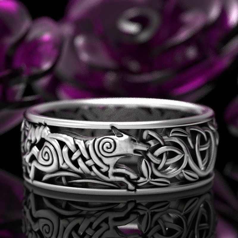 Nuevo Lobo celta Noruega nórdico vikingo Lobo nudos y cordel 925 Plata tailandesa negro VintageThai anillo de plata para hombres y mujeres