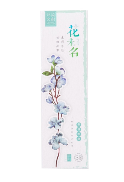 Flower Name Diy Paper Bookmark(1pack=30pieces)