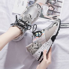 Women Sneakers Shoes Casual Platform Harajuku Flat Thick Sole Tenis Leopard Snake Mesh Breathable