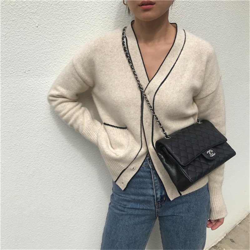 CBAFU Cashmere Sweater Cardigans Women Loose Casual Knit Tops Korea Style Long Sleeve Wool Knitting Jacket Cardigans Loose P649