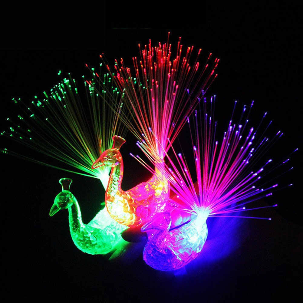 3PCS LED זוהר טווס אצבע אור זוהר טבעת מנורת צעצוע פלאש ילד ניאון מבריק ניאון מהבהב מסיבת מתנת קישוט