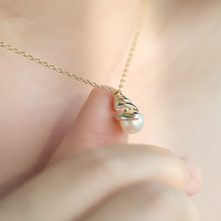fine silver necklace fresh water pearl shortage of money dog eared pendant simple gift women necklace