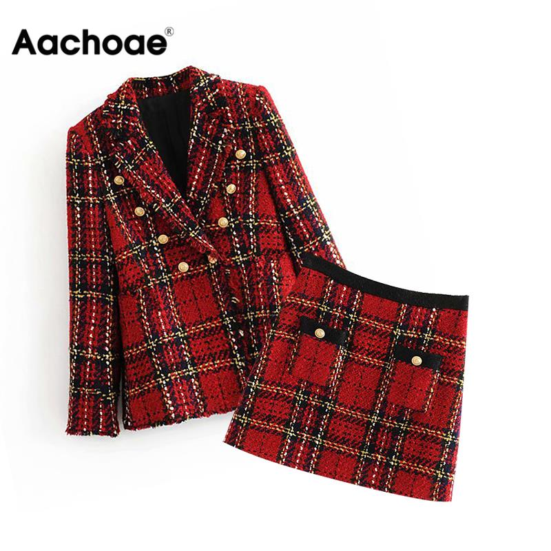 Elegant Women Tweed Plaid Skirt Suits Double Breasted Notched Collar Lady Fashion Blazers + Pockets A Line Mini Skirt Female