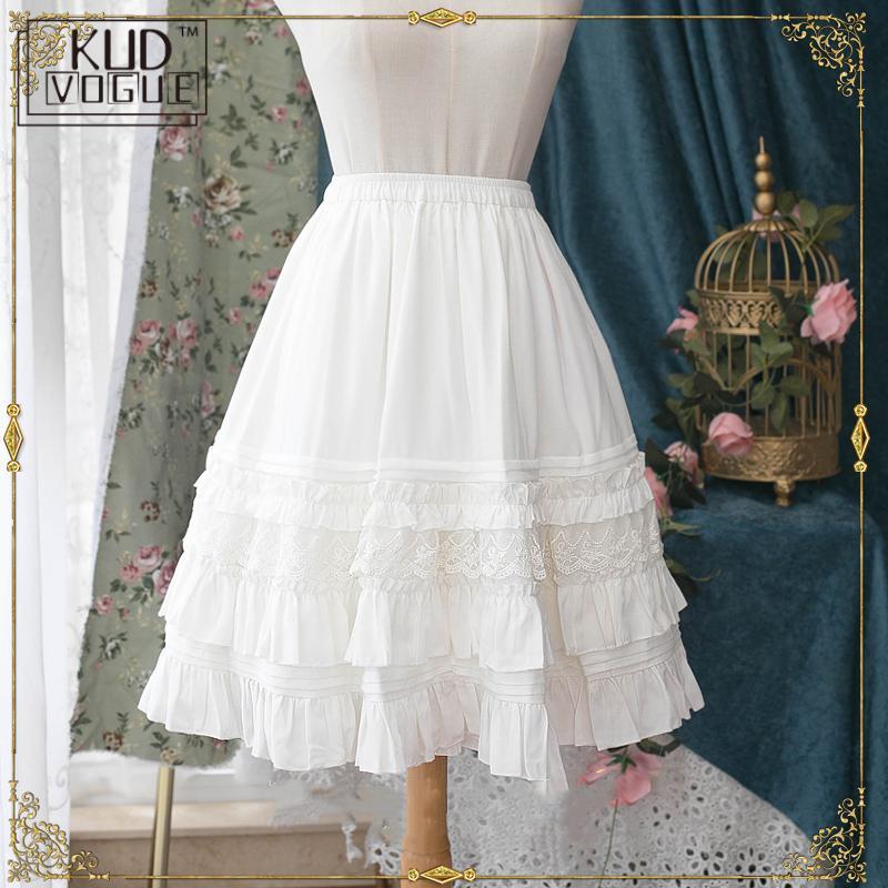Lolita Underskirt 2019 Summer Princess Black/beige Chiffon Girl's Elastic Waist Long Lace Skirt With Layered Ruffles For Women