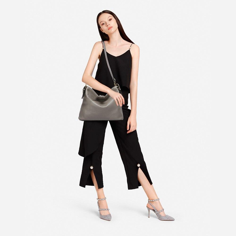 Zency Fashion gris femmes sac à bandoulière 100% en cuir véritable sac à main nouveau Style femme Messenger sac à bandoulière cabas décontracté pour femme-in Sacs à poignées supérieures from Baggages et sacs    2