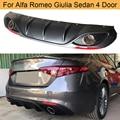 Автомобильный задний бампер диффузор губа спойлер для Alfa Romeo Giulia Sedan 4 Door 2016 - 2020 четырехфольтовый TI задний диффузор с выхлопом