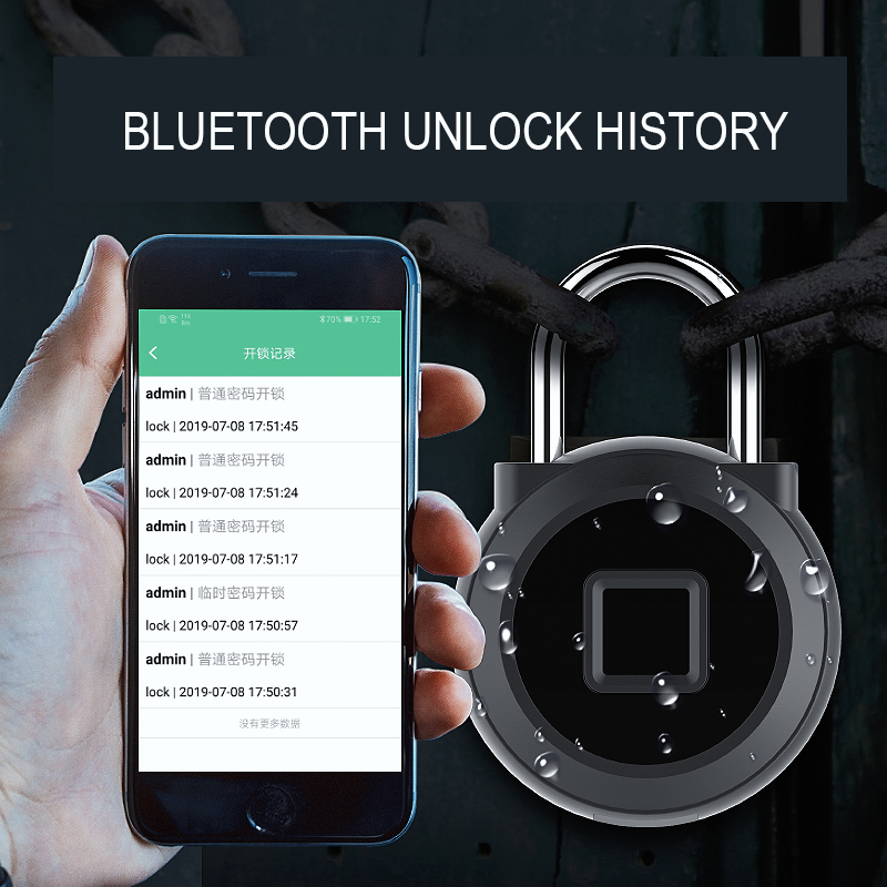 Waterproof Smart USB Rechargeable Door Lock Quick Unlock  Padlock Gold Silver Bluetooth/Fingerprint Lock Keyless