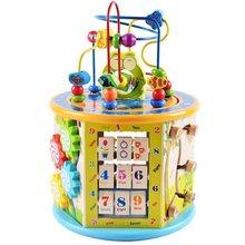 Монтессори Раннее детство обучающая игрушка многофункциональная Шестигранная большая круглая бусина Коробка С Сокровищами головоломка бисерная математическая игрушка