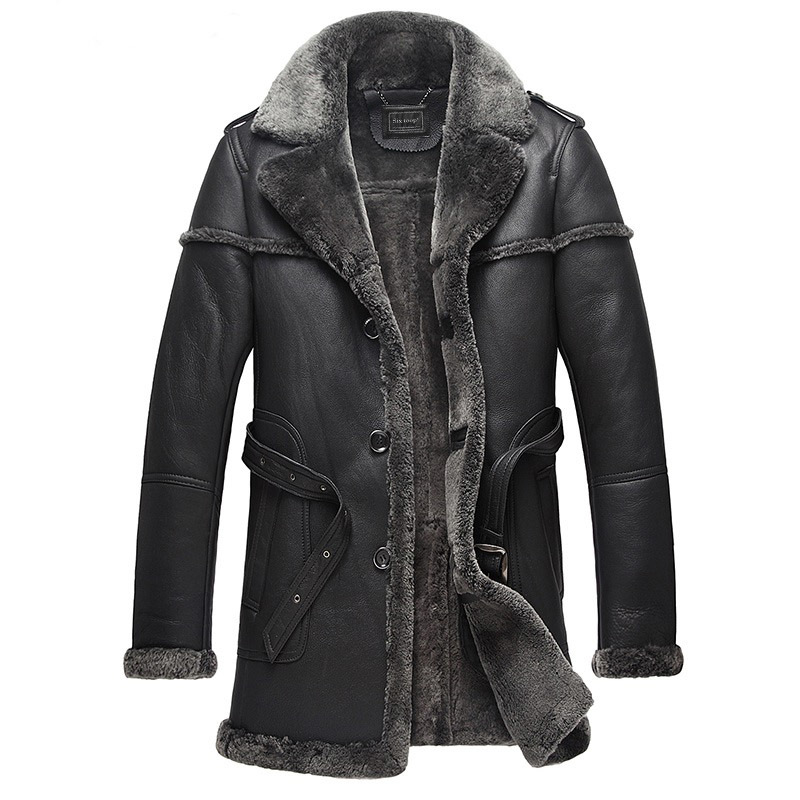 Natural Fur Sheep Shearling Jacket Winter Genuine Leather Jacket Men Sheepskin Real Fur Coat Men Clothes 2020 B578