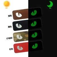 Parche militar de ojo de gato 3D de PVC, Parche táctico reflectante IR, sujeción de goma para motorista, insignias que brillan en la oscuridad