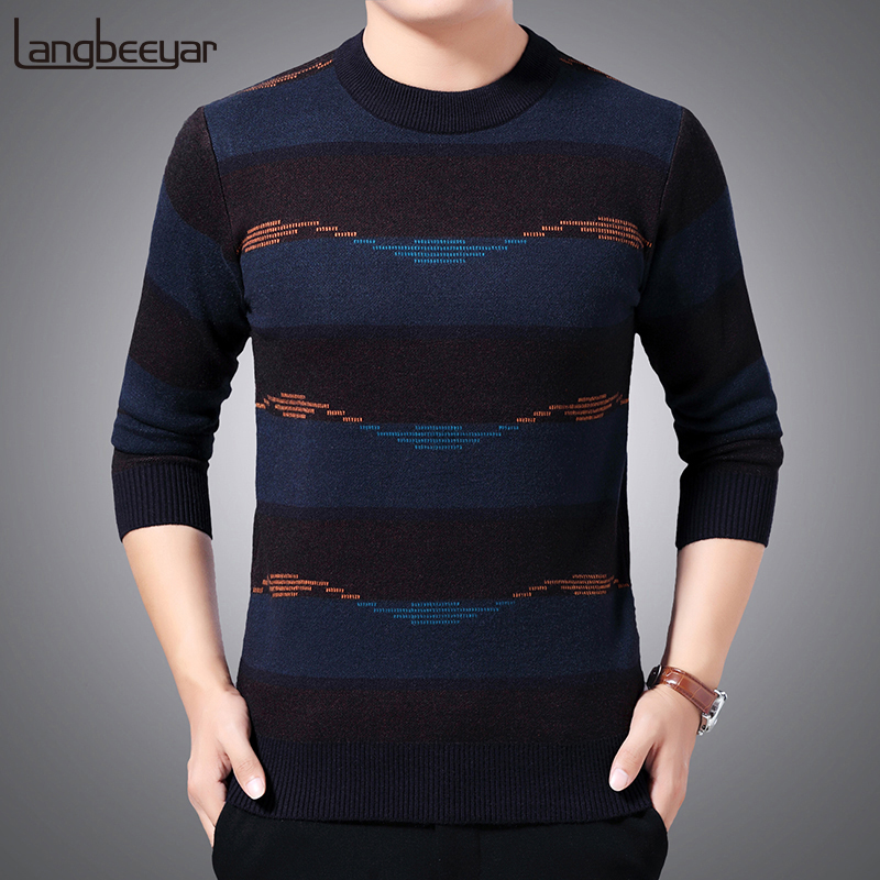 Thick Warm New Fashion Brand Sweater Mens Pullover Slim Fit Jumpers Knitting Striped Winter Korean Style Casual Clothing Male