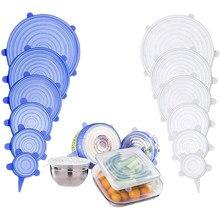 6 pces reutilizáveis embalagem de alimentos capa de silicone alimentos frescos-mantenha o tampão de vedação vácuo estiramento tampas de silicone cozinha silicone capa