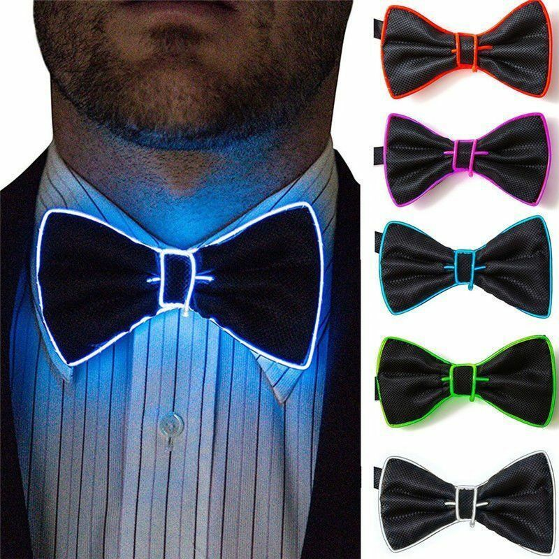 New Fashion Men LED Wire Necktie Bowtie Luminous Flashing Light Up Bow Tie For Club Party