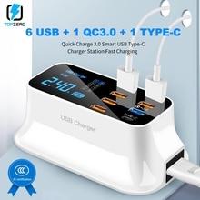 USB سريع تهمة 3.0 شاحن LED عرض نوع C المحمولة شاحن السفر الذكية شحن محطة آيفون شاومي هواوي سامسونج