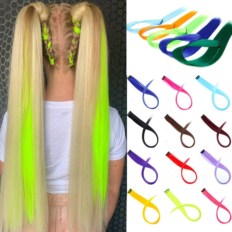 Lupu длинные прямые радужные окрашенные волосы для наращивания на заколках, искусственные волосы, синтетические волосы для женщин, термостой...