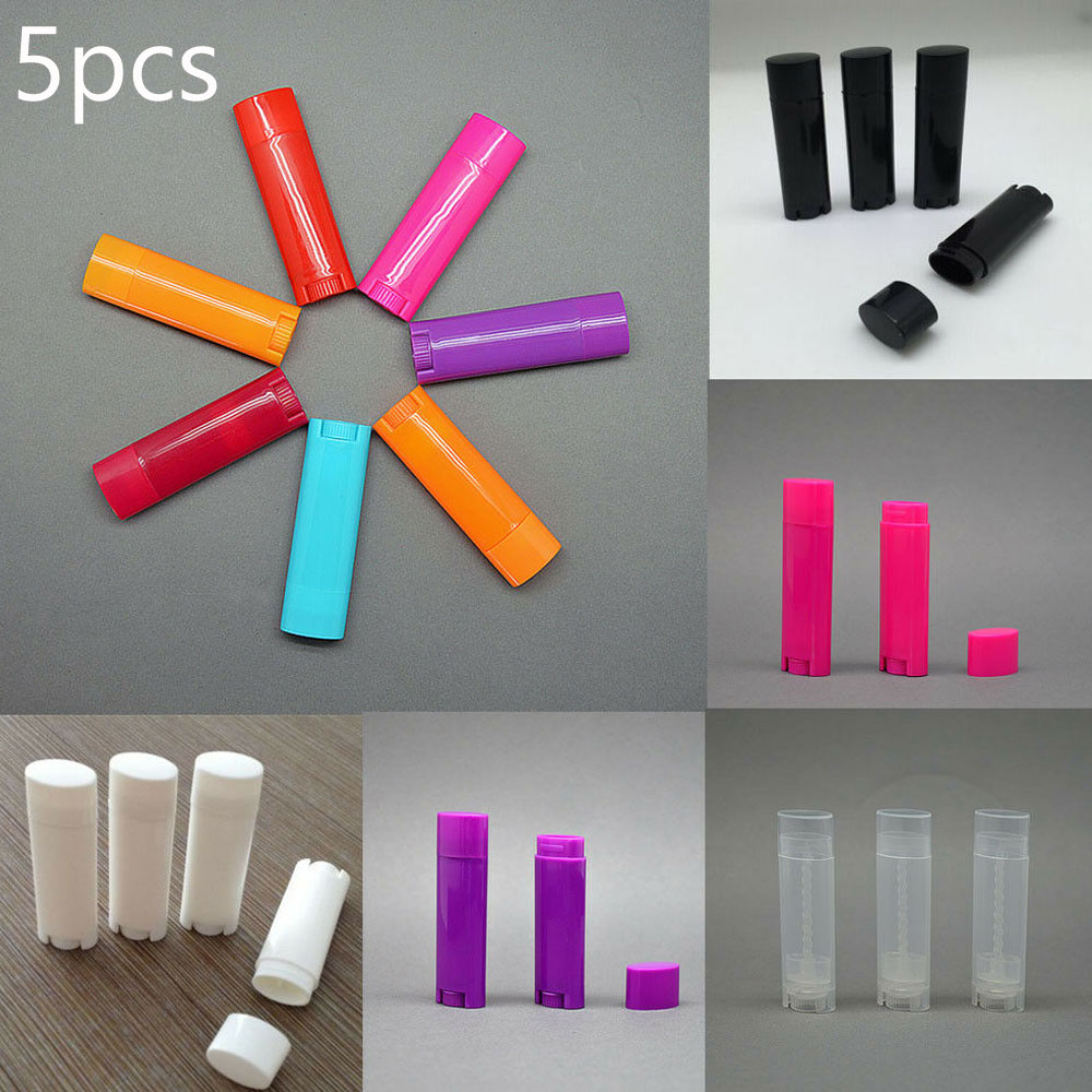 5pcs X 4.5g Oval Lip Balm Tubes Empty Lipstick Containers DIY Cosmetic Bottles Lip Gloss Tubes For Makeup Cosmetic Packaging