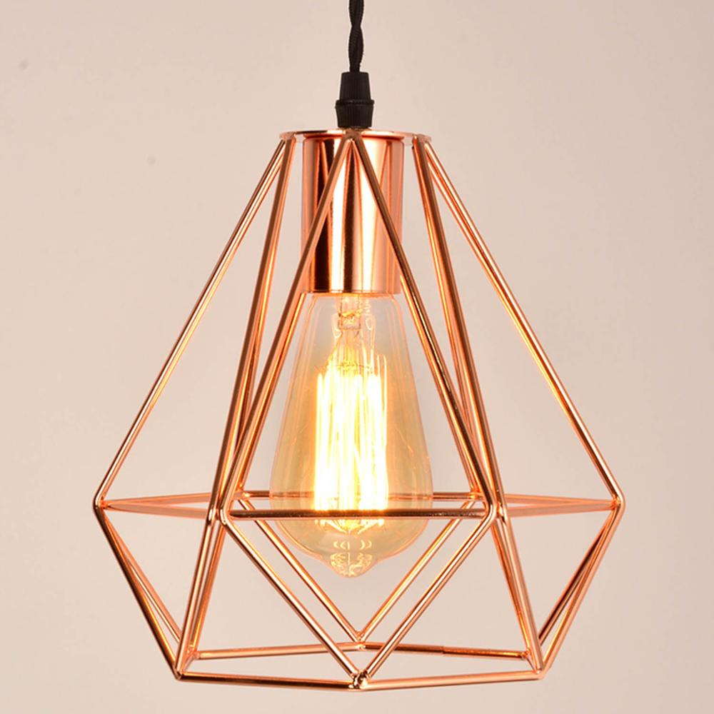 Modern Plating Metal Cage Pyramid Pendant Lamp Vintage Plating Rose Gold Chandelier Birdcage Creative Hanging Lamp For Island
